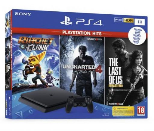 Playstation PS4 1TB slim + igra Uncharted 4 + igra The last of US + igra Ratchet&Clank